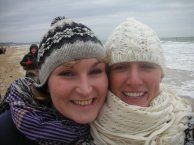 Nic and Hels see in the new year on the beach!
